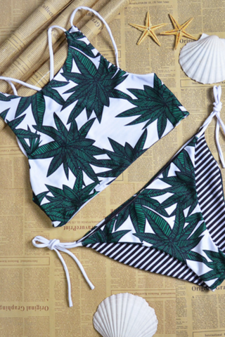 HOT GREEN LEAF TWO WAY WEAR BIKINIS