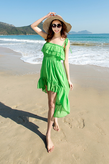 HOT GREEN FRONT SHORT BACK LONG BEACH DRESS