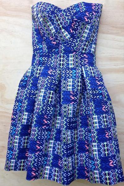 FASHION STRAPLESS TOTEM BLUE DRESS
