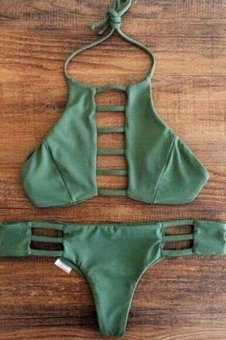 HALTER NECK CHEST HOLLOW GREEN TWO PIECE BIKINI