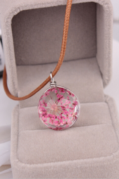 Fashion transparent spherical Time gemstone pendant necklace female dried dandelion