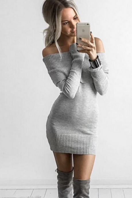 The new collar Slim thin long-sleeved sweater dress strapless package hip wild bottoming skirt