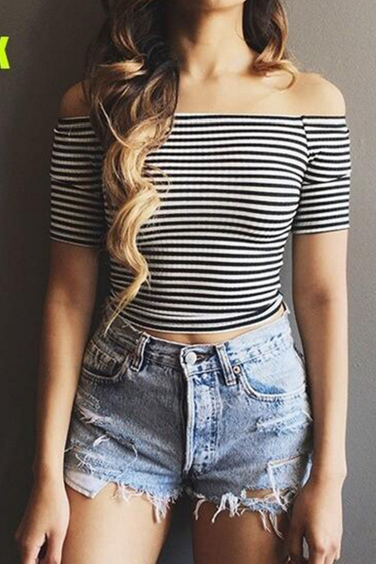 Off-the-shoulder Crop Top with Black and White Stripes and elbow length sleeves