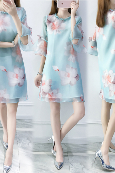 A new summer print dress small fresh lotus leaf sleeve loose dress female tide
