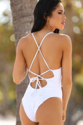 BLACK WHITE BACKLESS CROSS ONE PIECE BIKINI