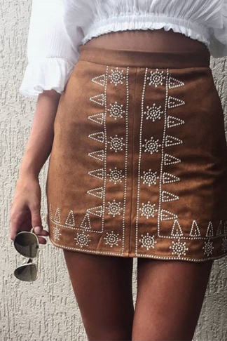 Printed high waist step skirt brown skirt