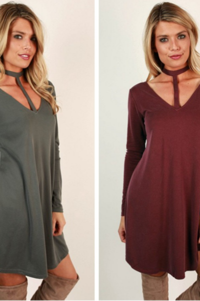 Choker Neck Plunge V Long Sleeves Short T-Shirt Dress