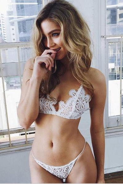 Frivolous lace underwear no steel ring hollow out sexy bra