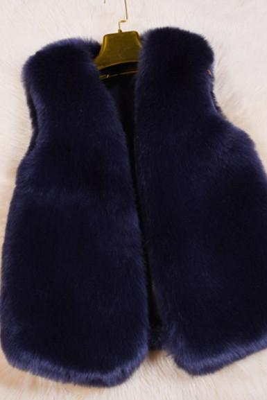 Warm artificial fur vest vest coat Navy blue