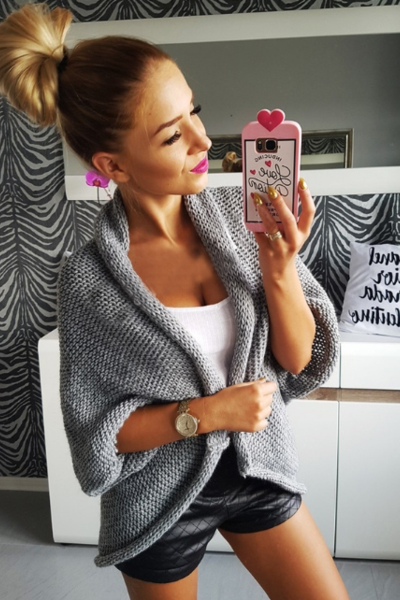 Thick gray sweater coat