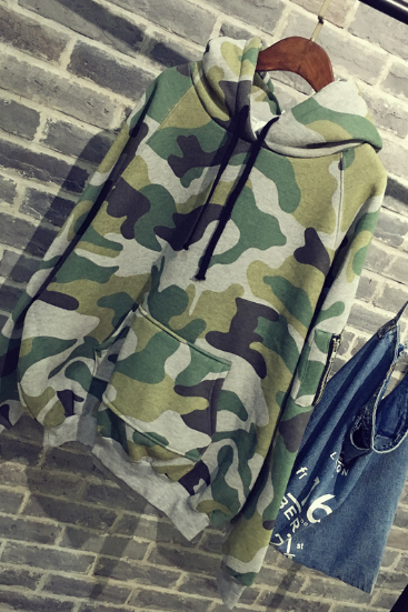 Camouflage sweater women spring and autumn hooded sweater stitching shirt