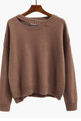 Long hollow short-sleeved women loose-fitting sweater