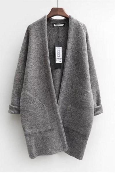 The bat sleeve loose thin knitting cardigan