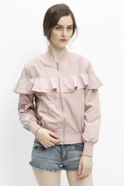 Autumn and winter new lotus leaf side zipper long-sleeved baseball jacket
