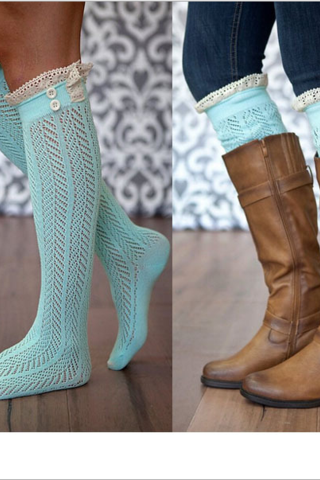 Light Blue Crochet Lace Knee Length Boots Socks Warmers