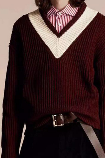 Winter hit the color sets of V-neck sweater lovers