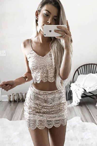 Gold Sequin Sexy Sling Skirt One Piece Dress