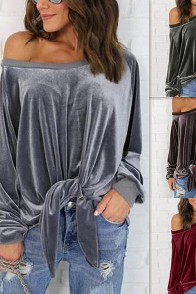 The new sexy bow tie straps sweater women 's loose shirt