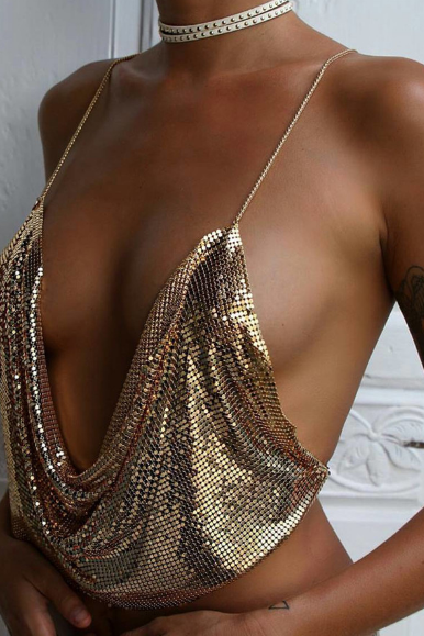 The new low-cut halter metal sequined chain strap deep V exposed umbilical vest