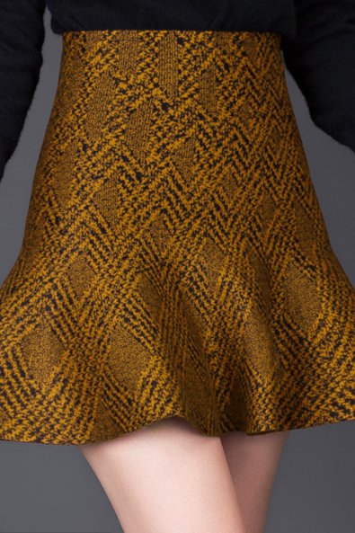 Jacquard knit skirt skirt skirt skirt Yellow