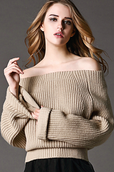 Fashionable new one-piece collar sweater sweater top Beige