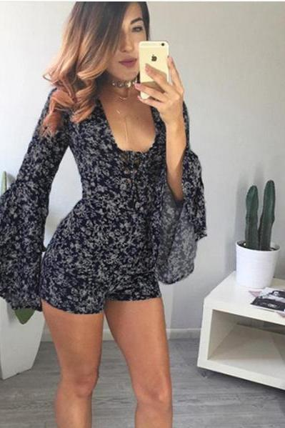 Sexy floral deep V horn sleeve romper