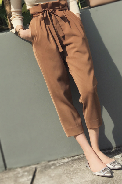 Fashion knot high waist haroun pants nine minutes of pants