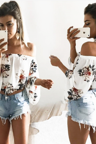 Floral Print White Chiffon Off-The-Shoulder Long Flared Sleeves Top
