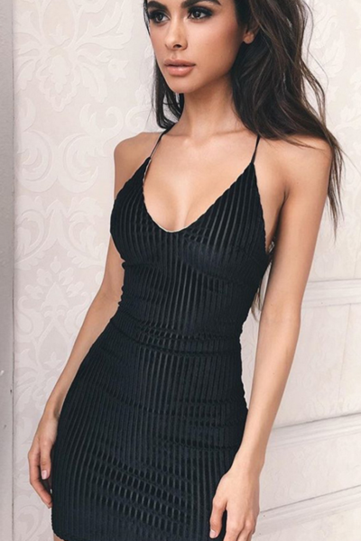 Fashion sexy straps v neck stripe backless knot dress