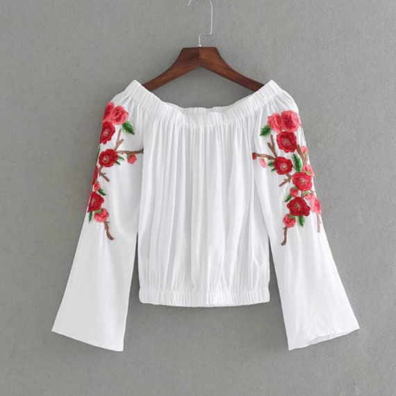 White Floral Embroidered Off-The-Shoulder Long Sleeved Blouse