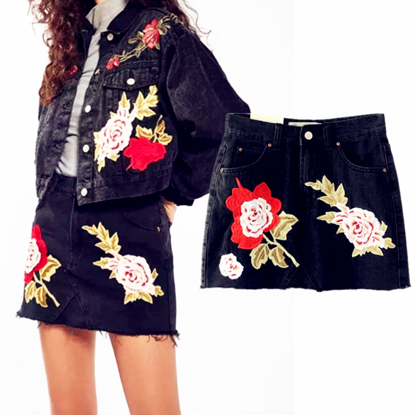 Black Floral Embroidered High Rise Denim Short Skirt Featuring Raw Hem