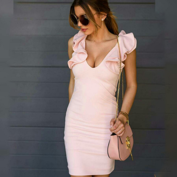 Sexy Pink Falbala Sleeve V Neck Show thin One Step Dress