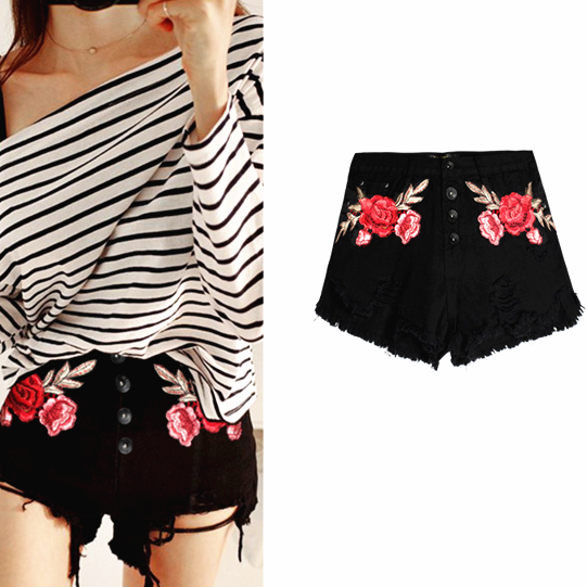 Fashion Sexy Floral Embroider Roses Black High Waist Shorts