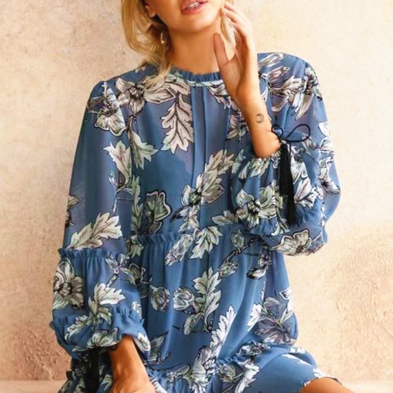 Floral Print Ruffled Neck Long Cuffed Sleeves Short Shift Dress