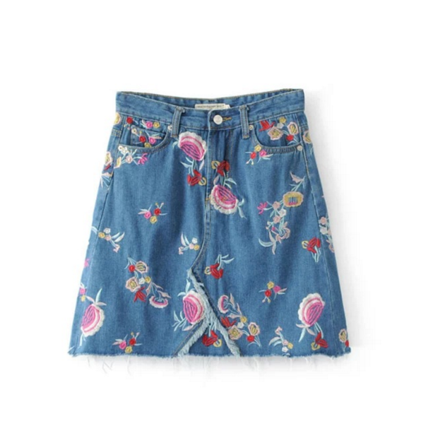 Floral Embroidered Short A-Line Denim Skirt Featuring Frayed Hem