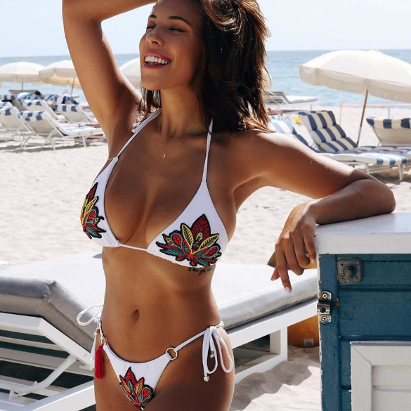 Hot two piece Sequins embroidery shining bikinis