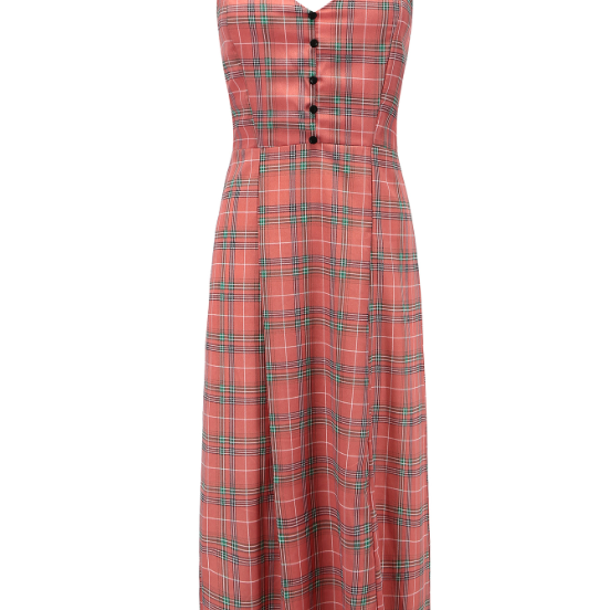 New women's halter dress with open back and v-neck check chiffon