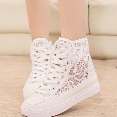 High help canvas shoes in han edition tide female increased thick bottom platform shoes breathable casual shoes for women's shoes
