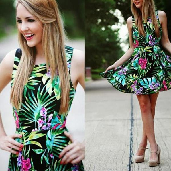ON SALE THE LEAVES PRINTED SLEEVELESS MINI FASHION SEXY DRESS