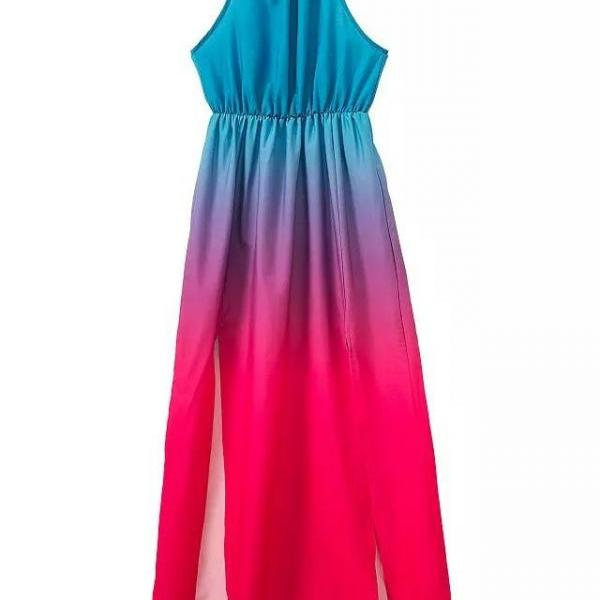 CUTE GRADIENT SEXY STRAPS DRESS