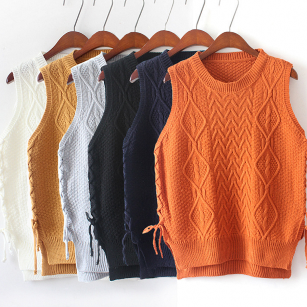 Hedging new winter lace stitching round neck knit sweater vest vest female