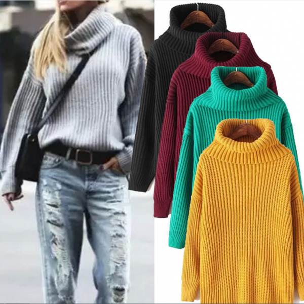 Oversized Turtleneck Thick Knitted Sweater