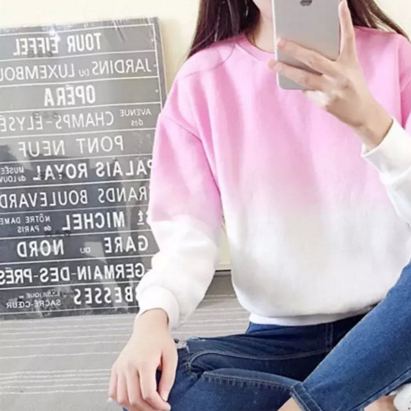 2016 gradient loose Fleece wild small fresh fruit color Mori women casual round neck sweater bottoming