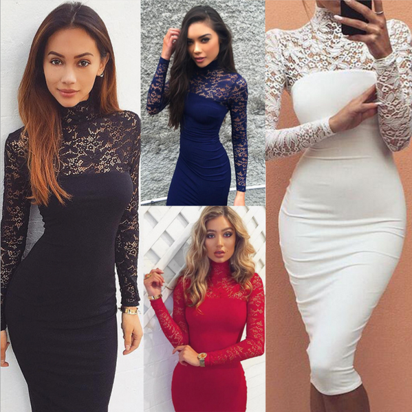 2016 long-sleeved lace dress new sexy and elegant Slim