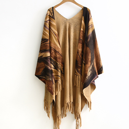 Abstract Boho Printed Fringe Poncho Shawl Cardigan - Yellow or Grey