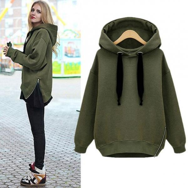 Womens Warm Coat Hoodie Parka Overcoat Long Jacket Zip Hem Sweatshirt Outerwear