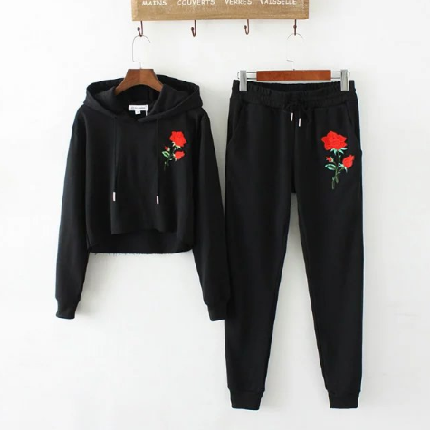 Embroidery Hooded Long-sle..