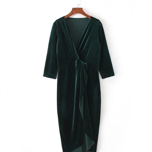 Deep V-neck Long-sleeved Velvet Knotted Dress