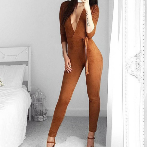 Autumn new sexy deep V-neck belt long sleeve piece pants female